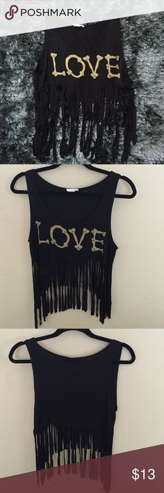 LOVE fringe top LOVE fringe top. Scooped neckline. Cropped, fringe starts high in front then low. Dropped arm hole. Metal Detail in LOVE. 🤘🏼MEDIUM, but can fit a size small as well. Note: I wear a size small usually. Please see last photo for size judgement. NOT LF LF Tops Crop Tops