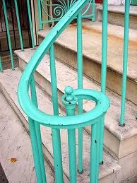 Outside railing. I love the color. I wish I could find this type of railing. Shades Of Turquoise, Teal Blue, Shades Of Blue, Turquoise Color, Happy Colors, Looks Cool, My Favorite Color, Green, Front Stairs
