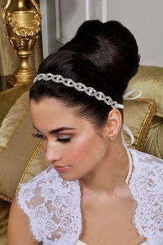 Bridal Headband - Beautiful Wedding Tiara - Crystals and Ribbon. $110.00, via Etsy.