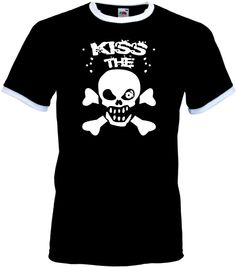 INDIVIDUELLES KISS THE PUNK-SKULL COOLES T-SHIRT FÜR ROCKER, EXPERTEN, PIRATEN!