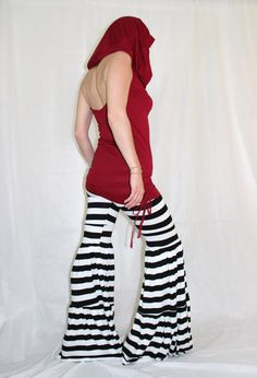 Cowl Hooded Halter Red Tunic Top with Side Ties via Etsy Kinda like the shirt, not sure about the pants