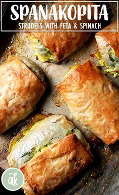 Roasted Vegetable Strudel – (Free Recipe below) Gourmet Recipes, Vegetarian Recipes, Cooking Recipes, Healthy Recipes, Flaky Pastry, Strudel, Roasted Vegetables, Veggies, Greek Recipes