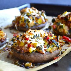 Vegetable-Stuffed+Portobello+Mushrooms