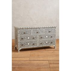 Anthropologie Bone Inlay Three-Drawer Dresser ($1,298) ❤ liked on Polyvore featuring home, furniture, storage & shelves, dressers, black, dresser, bone inlay dresser, bone inlay furniture, inlay furniture and black 3 drawer dresser