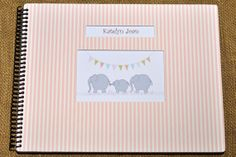 Personalized, handmade baby books from Love Leaf Books! This is our newest cover -  adorable pink and creamy white stripes!