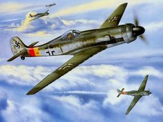 Aviation art by Jerry Crandall depicting the Fw Luftwaffe, Airplane Fighter, Airplane Art, Ww2 Aircraft, Military Aircraft, Ta 152, Focke Wulf 190, Ww2 Planes, Aviation Art