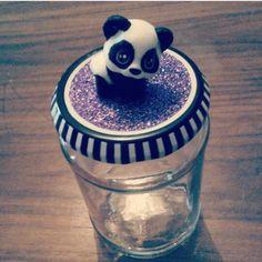 Glasburk med panda