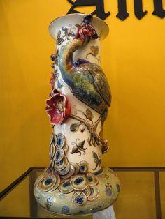 Zsolnay Vase with Peacock 54 cm high Peacock, Art Nouveau, Porcelain, Pottery, Vase, Statue, Antiques, Ideas, Peacock Bird