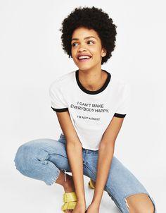 """I can't make everybody happy"" ecologically grown cotton printed T-shirt - Bershka #fashion #product #tshirt #tee #slogan #text #print #printed #white #black #girl #trend #trendy #can't #make #everybody #happy #not # #taco #quote #humour #camiseta #texto #negra #blanca #cool #chica"