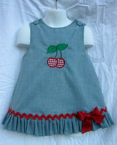 Diy Crafts - A-line Ruffled Gingham Dress with Ruffle and Cherry Applique by sandysspecialtouch on Etsy Kids Dress Wear, Little Girl Outfits, Toddler Girl Dresses, Little Girl Dresses, Kids Outfits, Girls Frock Design, Baby Dress Design, Baby Frocks Designs, Kids Frocks Design