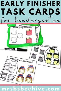 Give your students early finisher activities that are engaging and educational.  These task cards are meant to be done independently to help free up your teacher time for those students who need assistance! Help students increase number comparison skills with these kindergarten task cards. Number Formation, Letter Formation, Early Finishers Activities, Letter Matching, Letter Recognition, Your Teacher, Kindergarten Classroom, Guided Reading, Task Cards