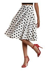 Polka Dot Full Midi Skirt