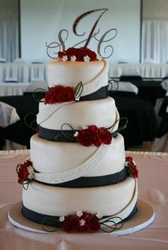 Marines USMC inspired wedding cake with gold colored white