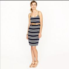 J Crew Silk Stripe Blouson Dress