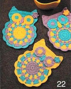 """Adorables Dessous de verre représentant des animaux et des fleurs , proposé par """" Liveinternet.ru/users/4107042 """" , avec leurs grilles gratuites ! Je souhaite un bon crochet à toutes celles qui voudraient réaliser un de ces jolis dessous de verre ! Mes..."""