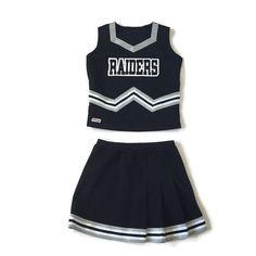 Features a crop top and pleated skirt. Black white and metallic silver color scheme. Black Cheerleaders, Raiders Cheerleaders, Cheerleading Uniforms, School Uniform Outfits, Cheer Outfits, Cheer Costumes, Cosplay Costumes, Halloween Costumes, Dance Uniforms