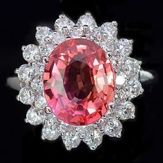 A Vintage Natural 4.35CT Oval Cut Pink Padparadscha Sapphire & White Sapphire Halo Accent Floral Ring