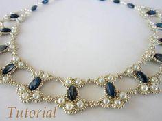 PDF tutorial de encaje collar semilla perla oval grano                                                                                                                                                     Más