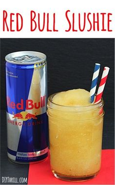 Easy Red Bull Slushie Recipe!  This delicious Slush is SO simple to make, and is the ultimate energy boost and pick-me-up drink for a hot day!