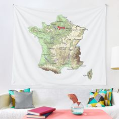 """FRANCE detailed physical map topographic map of FRANCE with Capitals and Major Lakes and Rivers"" Tapestry by mashmosh Textile Prints, Textiles, France Map, Thing 1, Topographic Map, All Print, Rivers, Wall Tapestry, Lakes"