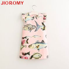 11.60$  Watch here - http://ali5c3.shopchina.info/go.php?t=32219546736 - 2017 New Arrival Brand Dresses Girls Princess Dress Cartoon Fish Flower High Quality Street Beat Style Children's Clothes  #aliexpress