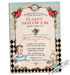 New to CupidDesigns on Etsy: Alice in wonderland baby shower invitation. Baby Alice invitation. Wonderland baby shower invite. Custom personalized printable or printed. (25.00 USD)