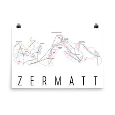 **MADE IN THE USA** You'll love this amazing Zermatt Art Print! This Zermatt ski map shows all of the trails and lifts at Zermatt. This will fit any decor, and also makes a great gift. If you love Zer