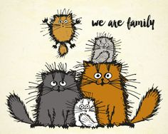 The #Kitty family is here to wish you a fun #caturday on #LoveYourPetDay ;)  #cute #pet #family #Ecard.