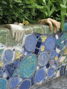 Penland mosaic wall. I never thought of doing mosaics with intact plates!