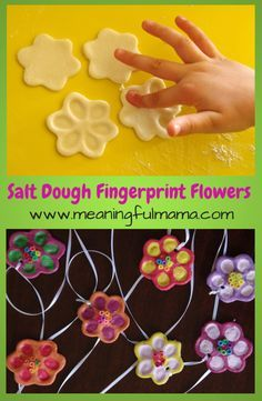 Salt Dough Flower Fingerprints - Salt Dough Flower Fingerprints These are super fun kids crafts that my kids love to do! Salt Dough Fingerprint Flowers, perfect for kids to make for Mother's Day gifts too! Daycare Crafts, Fun Crafts For Kids, Summer Crafts, Toddler Crafts, Crafts To Do, Preschool Crafts, Easter Crafts, Projects For Kids, Holiday Crafts