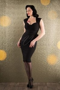 Stop Staring 50s Love Bow Pencil Dress in Black 16346 20151105 0010W