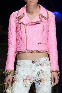 Quilted Cropped Pink Biker Jacket Trend forSpring Summer 2013.  Philipp PleinSpring Summer 2013  #Trendy #Fashion