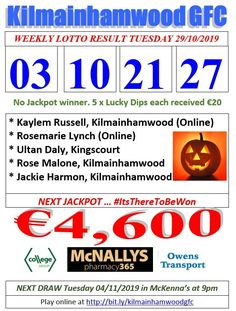 Support the fundraising efforts of Kilmainhamwood GFC, Kilmainhamwood Kells, Meath. Lotto Draw, Jackpot Winners, Number Drawing, Lynch, Text Messages, Fundraising, Dip, Numbers, Let It Be