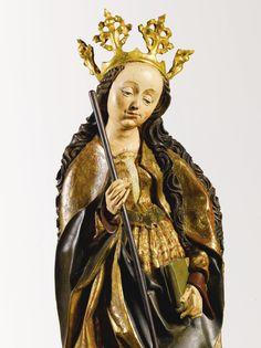 Lot | Sotheby. ATELIER DE JAKOB NAUMANN  ALLEMANDE, THURINGE, VERS 1500-1515 SAINTE MARGUERITE ET SAINT BARBARA bois de tilleul, de dorures et de polychromie rafraîchi  chaque:. 91cm