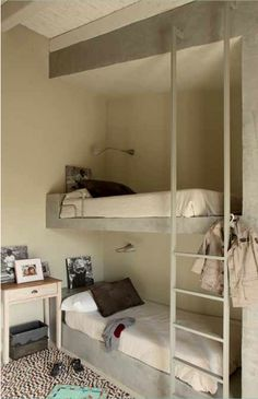 double bunk, modern simple kids room Double Bunk, Child Room, Kidsroom, Space Saving, Bunk Beds, Kids Bedroom, Loft, Room Decor, Cottage