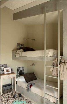 double bunk, modern simple kids room