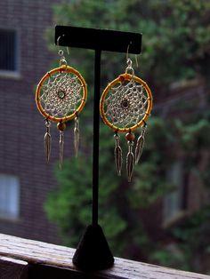 Deep Yellow Dreamcatcher Earrings