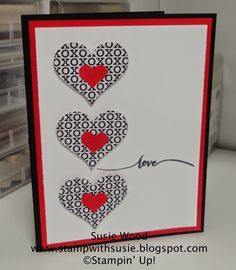 handmade valentine card column of punched hearts embossing folder dot pattern for background layer cards valentines and love pinterest - Valentine Cards Pinterest