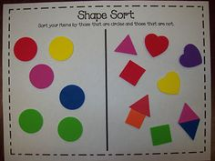 Ideas for teaching shapes, including a FREE shape sort, art activities, and great shape-related books for read aloud!  :)