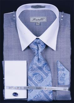 Fratello men's french cuff dress shirt comes in stylish Glen Check and includes tie, hanky and cuff links. These unique dress shirts are a great complement to your new suit. Shirt And Tie Style, Shirt Tie Combo, Dress Shirt And Tie, Long Sleeve Shirt Dress, Best Dress Shirts, Suit Shirts, Shirt And Tie Combinations, Bespoke Shirts, Shirting Fabric