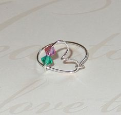 Heart Wire Ring Birsthstone Jewelry Silver Gold by livelovebead, $18.00
