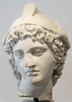 Head of Paris with Phrygian hat. Greek insular marble, Roman copy from the Hadrianic era after a Greek original from the 4th century BC. From the Palatine Hill.