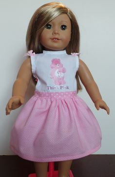 Breast Cancer Awareness American Girl Doll Dress or any 18 inch Doll by DollsDamselsandDames on Etsy