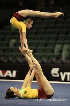 Acro Gymnastics :O Gymnastics Moves, Acrobatic Gymnastics, Olympic Gymnastics, Cheer Stunts, Cheerleading, Partner Acrobatics, Contortionist, Partner Yoga, My Gym
