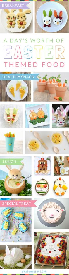 Fun Easter Food Ideas for Kids | Easter themed recipes to make for your children for Breakfast, Brunch, Lunch or a Healthy Snack. Plus, sweet treats and desserts that are perfect for your child's school class party or just for fun - super cute yet simple including cakes, bark, brownies, peeps, bunnies, lambs, mini eggs, rice krispies and more!