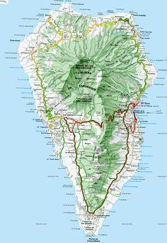 Mapa de carreteras de la Isla de La Palma