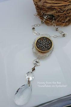Snowflake on Eyelashes - winter statement necklace
