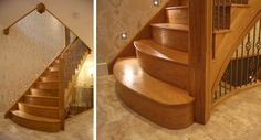 Oak cut string, flared staircase