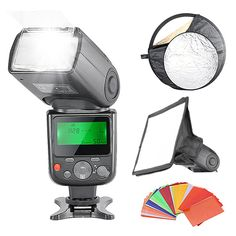 """Neewer Professional E-TTL Flash Reflector Kit for Canon Rebel T5i T4i T3i T3 T2i T1i SL1, EOS 700D 650D 600D 1100D 550D 500D 100D 6D, 1Ds Mark III, 1Ds Mark II, 5D Mark III, 5D Mark II, 1D Mark IV, 1D Mark III and All Other Canon DSLR Cameras, includes: (1)NW670 E-TTL Speedlite Flash with LCD Display for Canon, (1)6x8""""/20x15cm Dome Softbox, (1)22""""/60cm 5-in-1 Reflector, (1)35-piece Color Gel"""