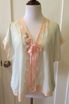 1920s Silk Bed Jacket 20s BedJacket SeaFoam Green by Maudelynn